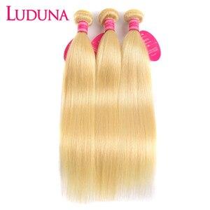 Прямые пучки волос Luduna, 613 блонд, бразильские пупряди волос, 100% человеческие пучки волос, волнистые волосы без повреждений, 3 шт./лот сделки