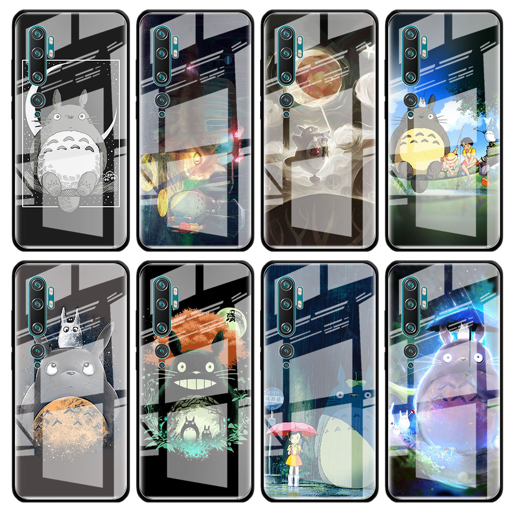 Cute Totoro Ghibli Miyazaki Anime Tempered Glass Case for Xiaomi Redmi 7 8A K20 K30 Pro Note 7 8 8T 9 9S Mi 8 A3 9T Note 10 Pro