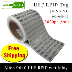 UHF RFID tag sticker Alien 9640 EPC6C wet inlay 915mhz868mhz860-960MHZ Higgs3 3000pcs free shipping adhesive passive RFID label