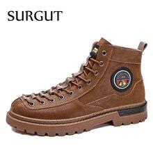Boots Men Autumn Genuine-Leather Fashion Design SURGUT Popular Lace-Up Brand Durable