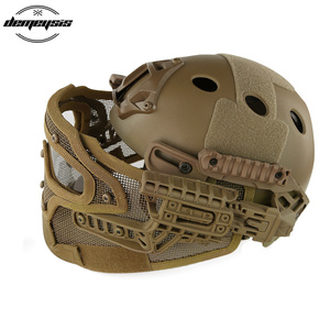 Image 4 - TAN Tactical Helmet with Mask Airsoft Helmet Paintball Fullface Protective Face Mask Helmet for Sports CS Military Helmet