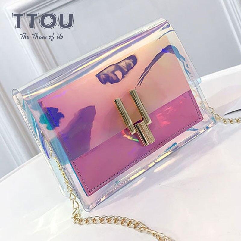 TTOU Fashion Mini Transparent Holographic Bags Summer Beach Flap Crossbody Bag Ladies Shoulder Bag Laser Female Messenger Bags