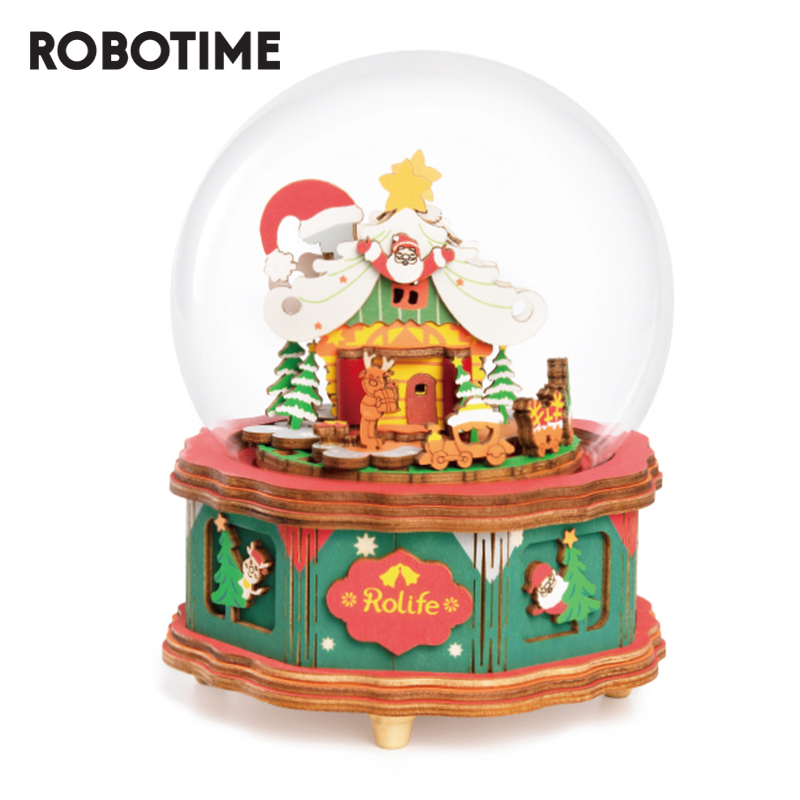 Robotime Christmas Town Music Box Wooden Model Building Kits Toys For Children Girls Christmas Gift