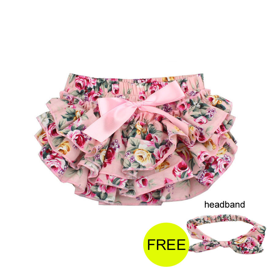Baby Girl Bloomers free Headband Baby Clothing flower Bow cotton Baby Shorts Ruffle Diaper Cover Bloomer Baby Panties