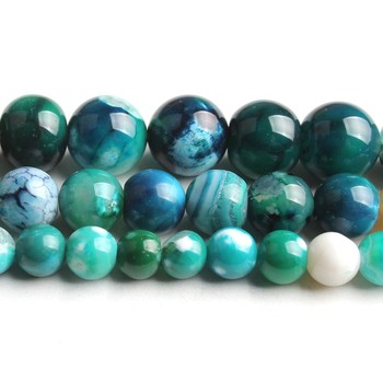 6/8/10mm Natural Blue Ice Craked Agates Stone Beads Round Loose Beads for Jewellery Making Bracelet Necklace 15/Strand image