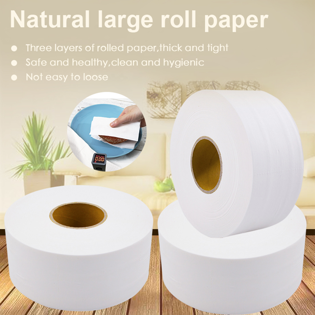 3 Roll Toilet Paper 580g/Roll Bath Tissue Roll Paper 900+sheets Ultra Commercial Jumbo Roll Paper Towels For Home Public Hotel