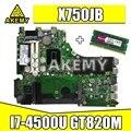Для ASUS A750J K750J K750JB X750JB X750JN материнская плата для ноутбука тест 100% ОК i7-4500 GT840M/2 ГБ свободный радиатор + 4 Гб RAM