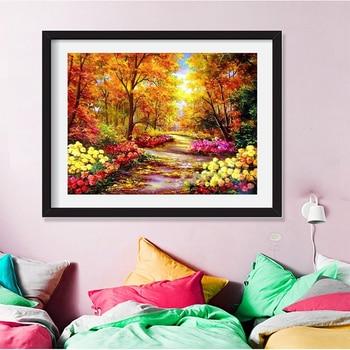 HUACAN Diamond Mosaic Scenery Autumn Tree 5D DIY Diamond Painting Full Square Landscape Fall Scenery
