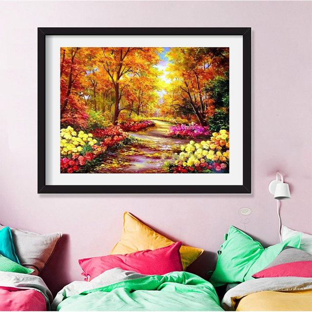 HUACAN Diamond Mosaic Scenery Autumn Tree 5D DIY Diamond Painting Full Square Landscape Fall Scenery Decor