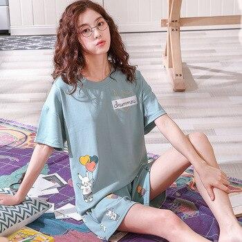 Nuevo pijama de dibujos animados para mujer y niña, pijama para mujer de invierno, letra, dibujo de rayas, camiseta de manga corta, pantalones cortos, conjunto de 2 piezas, pijama bonito