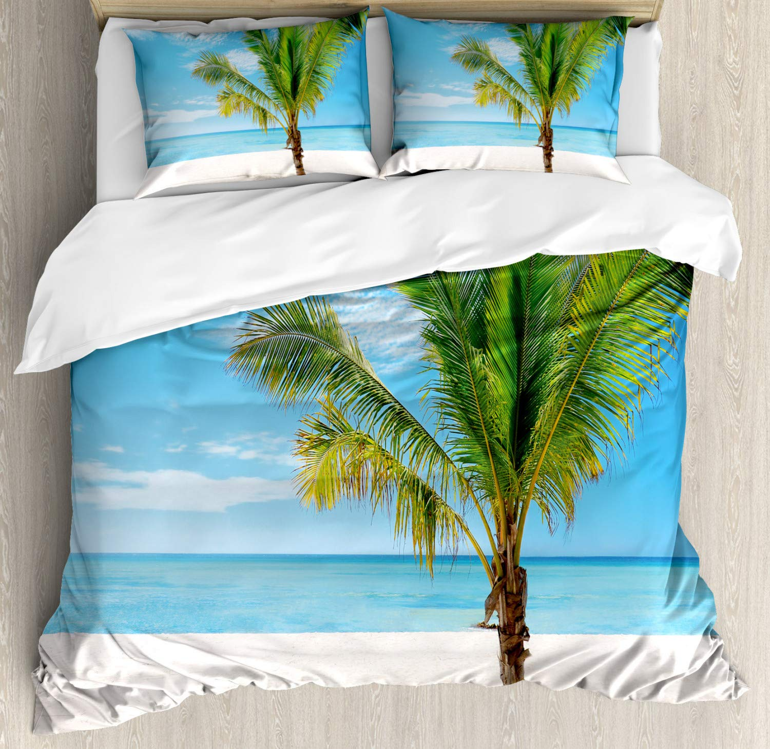 Tropical Duvet Cover Set Exotic Beach With Palm Tree In Saona Island Sunny Summer Day Seaside Photo Decorative 3 Piece Bedding Duvet Cover Aliexpress