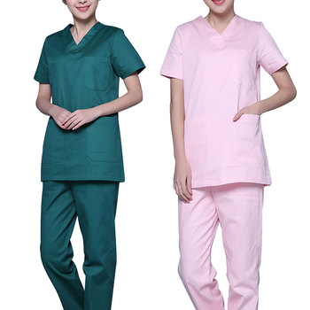 Women Fashion Scrub Top Doctor Nurse Uniform Side Opening Front Shirt With Concealed Zipper Surgery Scrub Suit