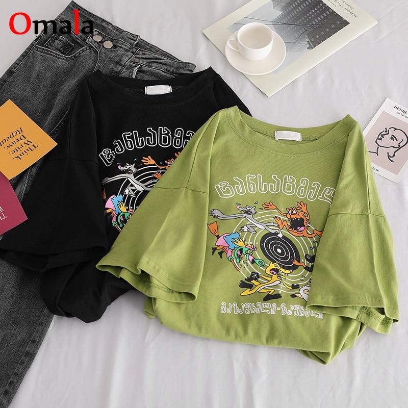 Korean Kawaii Cartoon Print T Shirt Funny Graphic Tees Women Summer Short Sleeve T-Shirts Harajuku Casual Loose Girl Black Tops