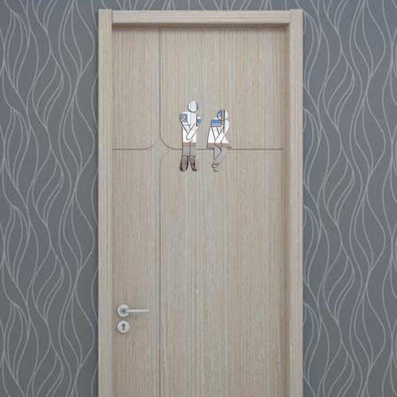 Removable Cute Man Woman Washroom Toilet WC Wall Sticker Family DIY Decor Mirror Sticker Home Decor for Bathroom Supplies