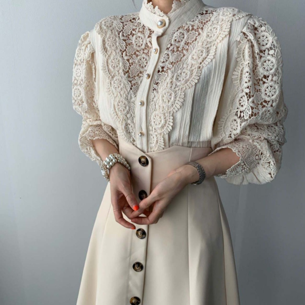 H271cbd92a3ef4f8593a3bc45d3e4bbe9m - Spring / Autumn Stand Collar Long Sleeves Hollow Out Lace Blouse