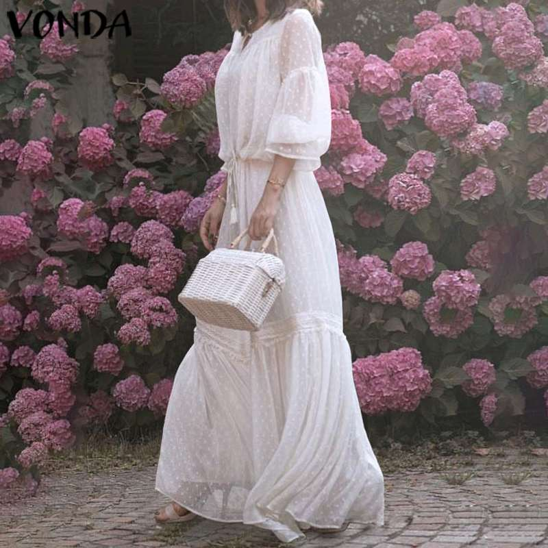 VONDA Bohemian Dress Sexy Dot Printed Maxi Long Dress 2019 Summer Sundress Flare Sleeve Hollow Elegant Office Lady Vestido S-5XL