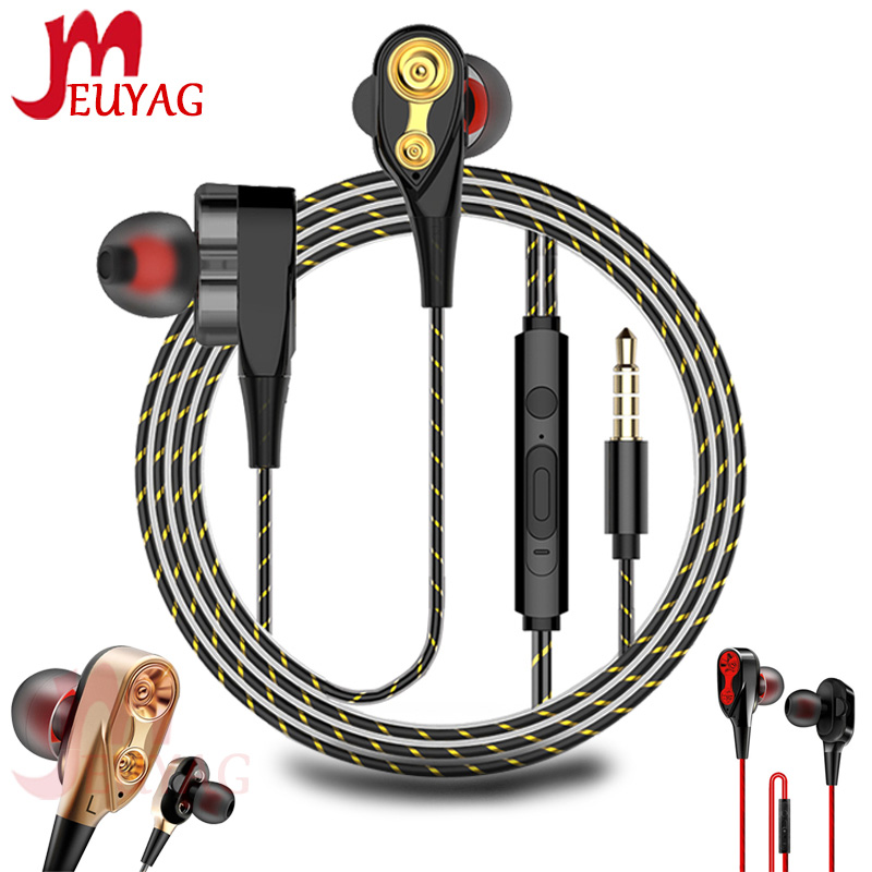 MEUYAG High Bass Wired Earphone Dual Drive Stereo In-Ear Earphones With Microphone 3.5mm Earbuds Headset For Android IOS