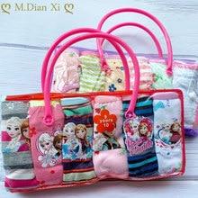 6 peças/lote 1-10y bebê meninas calcinha de algodão dos desenhos animados congelados elsa padrão roupa interior colorido meninas briefs conforto calças íntimas