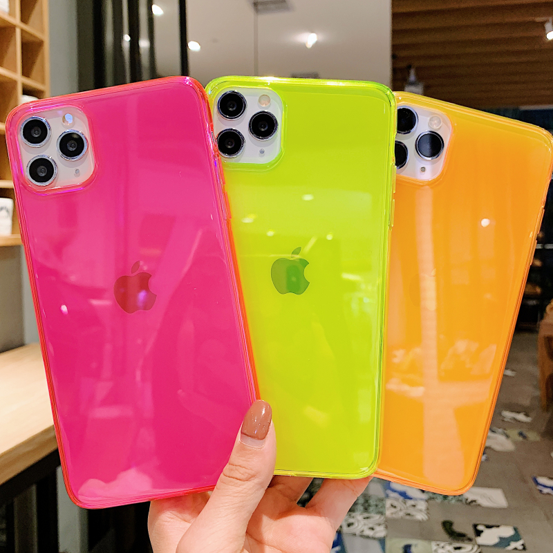 INS Hot fluorescent Shockproof transparent soft phone case for iphone 11 Pro Max XR XS Max 8 7 Plus trend silicone back cover 1