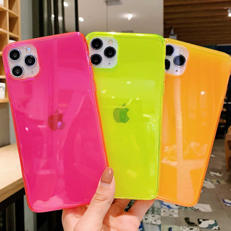 Ins Hot Fluorescerende Shockproof Transparante Zachte Telefoon Case Voor Iphone 11 Pro Max Xr Xs Max 8 7 Plus Trend Siliconen back Cover