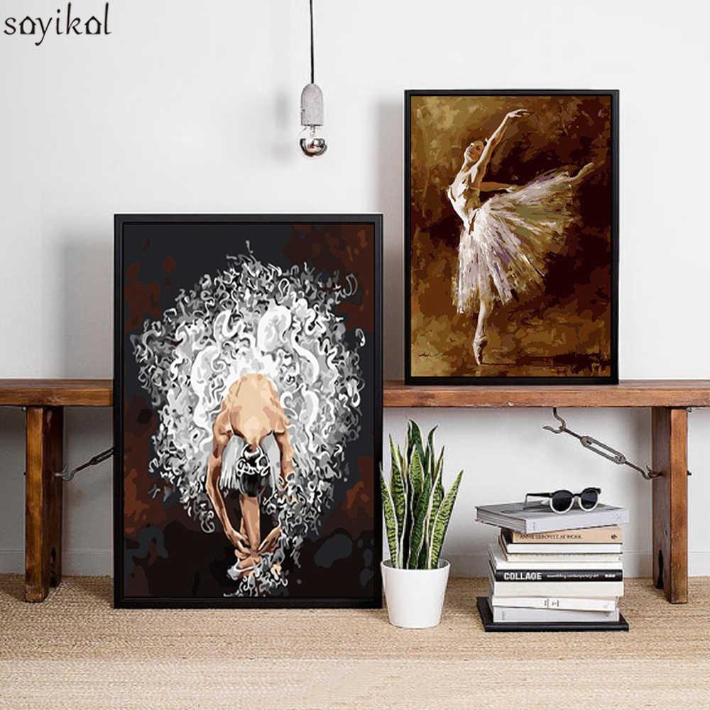 إطار مجردة نساء فتاة رقص دهان داي بواسطة أرقام ديكور المنزل جدار الفن صورة حديثة العروس رسم النفط اللوحة الفنية