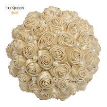 TOPQUEEN Champagne Bouquet for the Bride Bridesmaid Flower  Marriage Hand Silk Wedding Decoration F3-CP