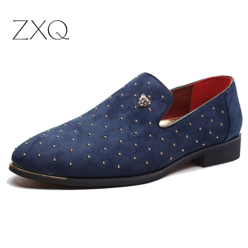Plus Size 38-48 Men Suede Leather Driving Shoes Black Blue Slip On Rivet Trend Summer Men Leather Loafers Drop Shipping