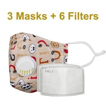 3 PCS Del Fumetto PM2.5 Bambini Maschera Maschera Con 6 Filtri Respiro Bocca Valvola Viso Maschera Per Bambini Lavabile Maschera Maschera di Polvere a prova di sterile In Magazzino 25
