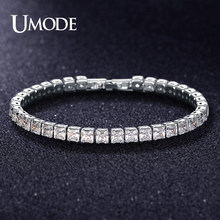 UMODE 2019 New Round Crystal Tennis Bracelets for Women Men Rectangle Square Zircon White Gold Long Box Chain Jewelry AUB0178X(China)