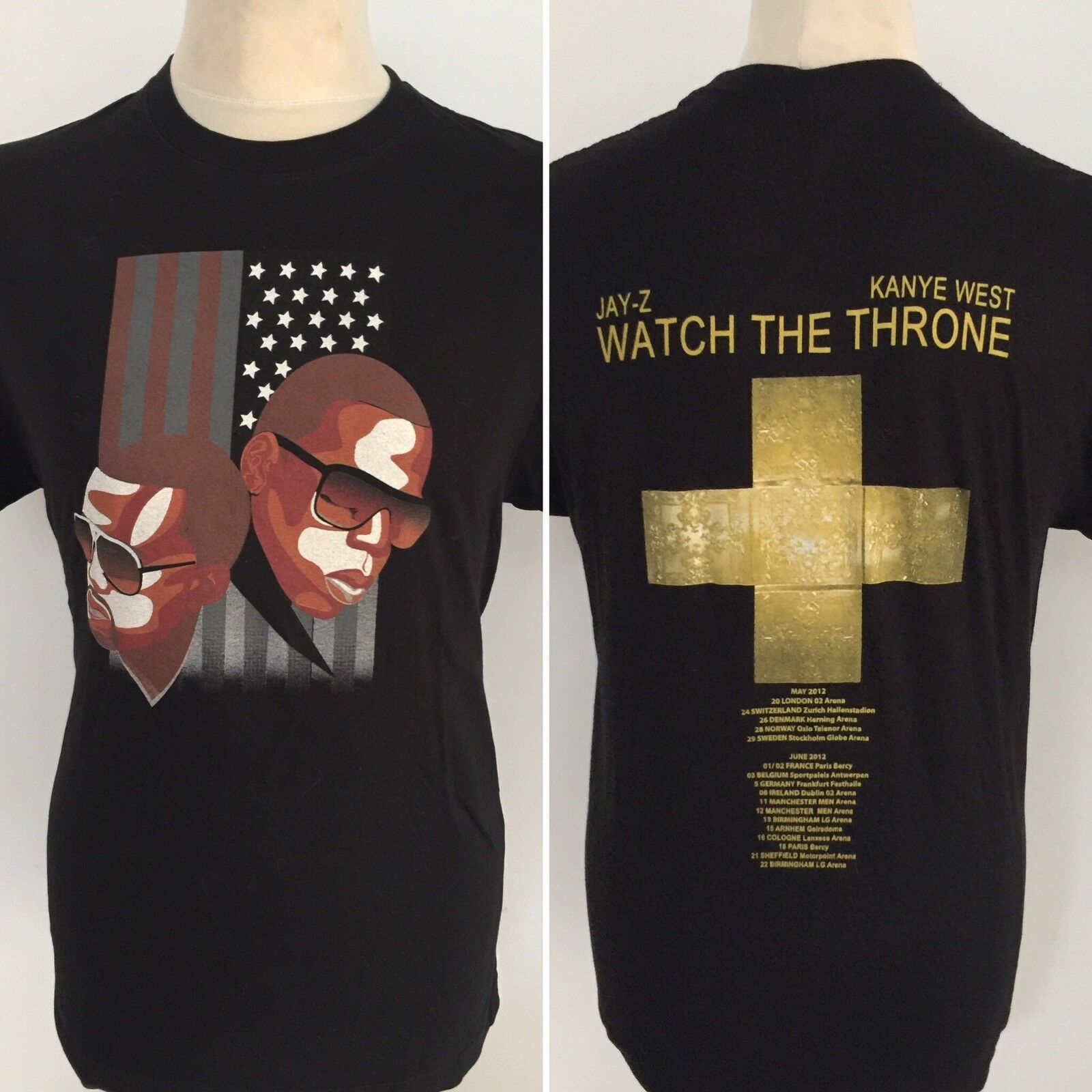 JAY Z KANYE WEST Watch The Throne 2012 European Tour T Shirt Size Medium 2019 New Fashion Men'S Top Tee image