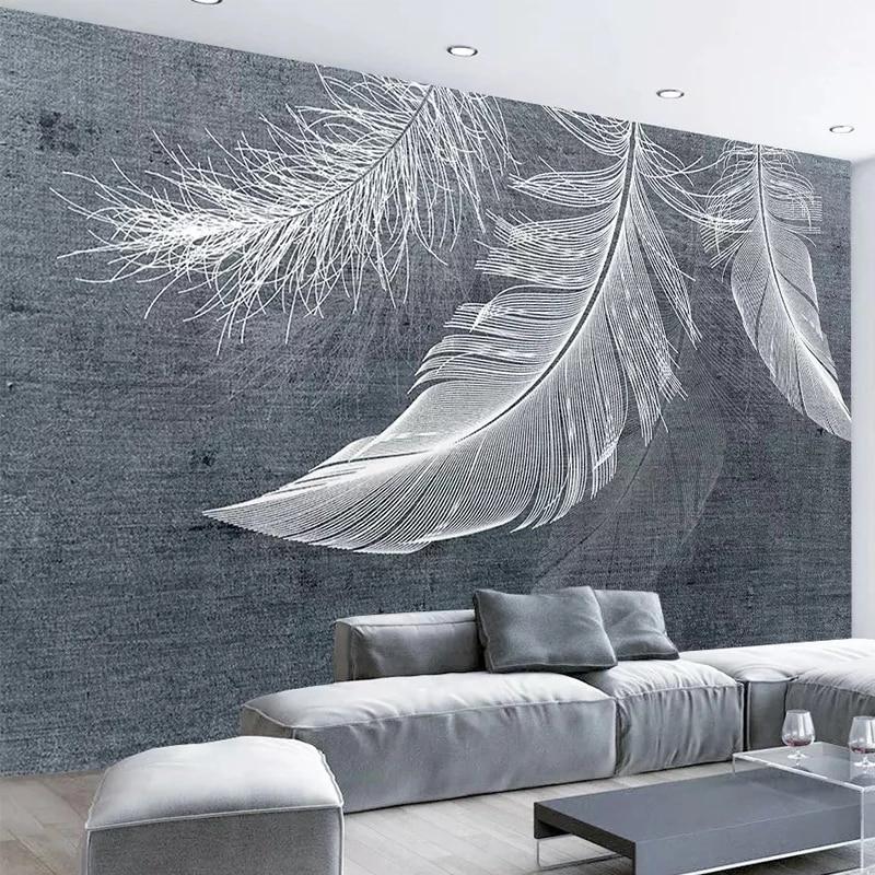 Настенные обои с белыми перьями, Современные Простые самоклеящиеся обои в скандинавском стиле для гостиной, спальни, домашний декор, водоне...