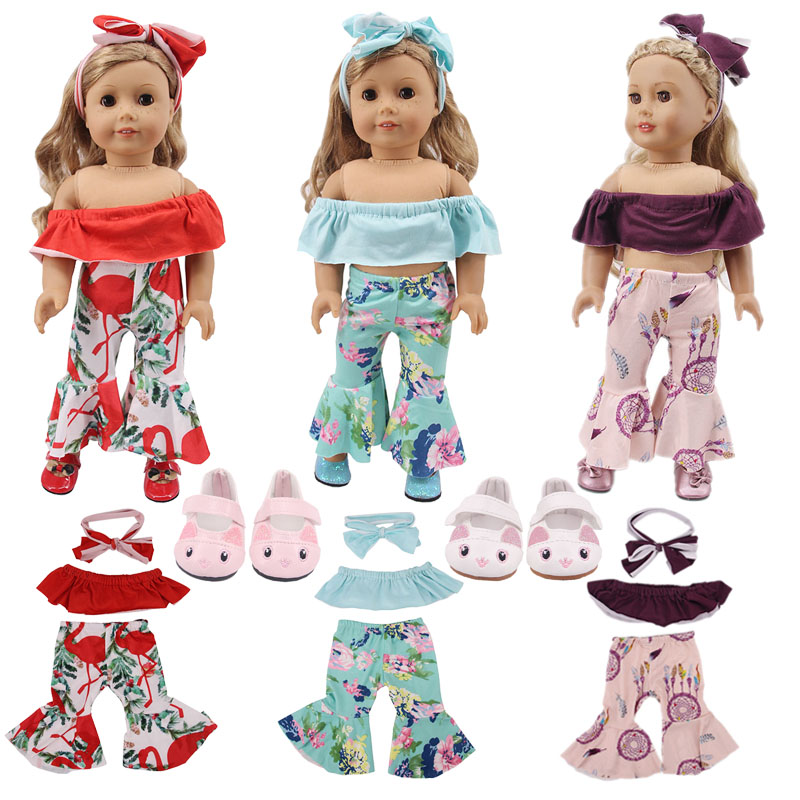 Doll Off Shoulder Clothes Set Cute Cat Shoes For 18 Inch American&43 Cm Born Baby Our Generation Christmas Girl's Toy Gift