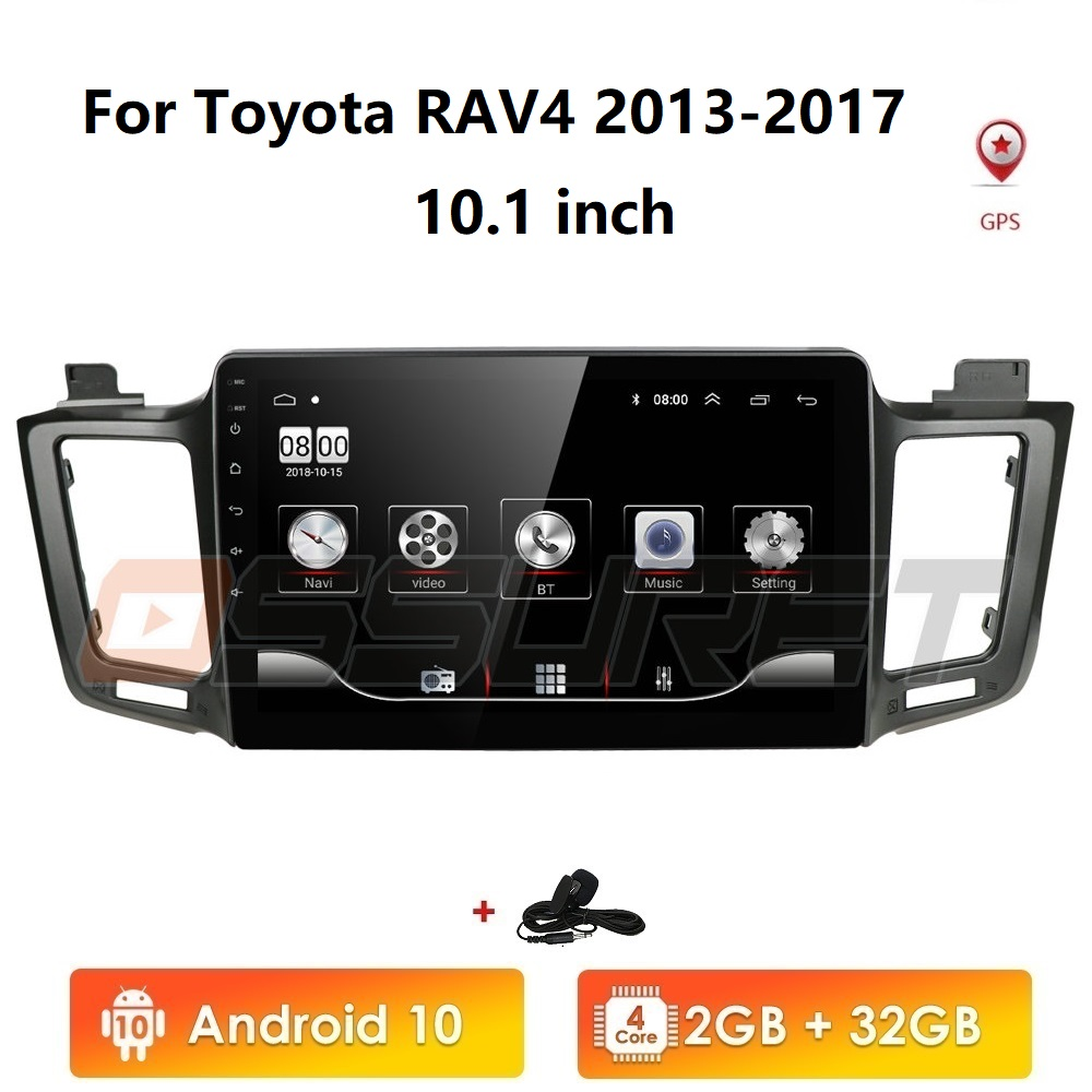 2GB+32GB Android 10 2 Din Car Radio Player for <font><b>Toyota</b></font> <font><b>RAV4</b></font> 2013 <font><b>2014</b></font> <font><b>2015</b></font> <font><b>2016</b></font> <font><b>2017</b></font> <font><b>RAV</b></font> <font><b>4</b></font> GPS Navigation WIFI Stereo Multimedia image