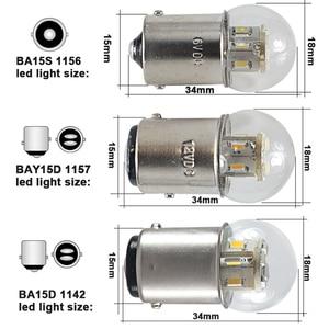 Image 3 - 6X led רכב אורות S25 p21w 1156 BA15S 1157 BAY15D BA15D 1W זכוכית כוס Canbus Dc 6 12 24 36 48 V וולט הנורה אוטומטי הפעל אות אור