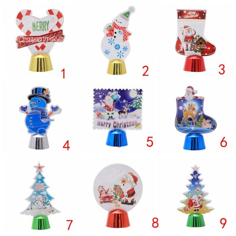 Colorido 3D luz de la noche de dibujos animados Navidad lámpara LED decoraciones de Navidad para el hogar regalo de Año Nuevo bola de cristal brillante - 5