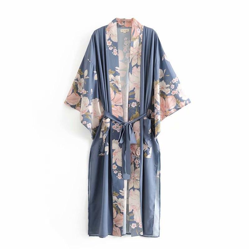 Fitshinling-Kimono de playa con mangas acampanadas y fajas, Rebeca larga ajustada con bolsillos y estampado lateral dividido, para vacaciones y otoño