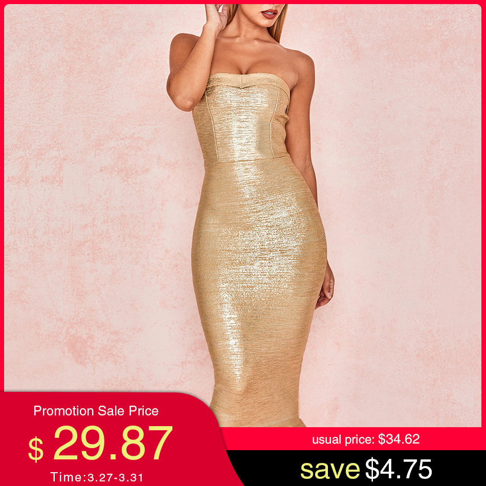 Adyce 2020 New Summer Women Gold Runway Bandage Dress Vestido Sexy Sleeveless Strapless Club Dress Elegant Celebrity Party Dress