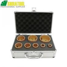 SHDIATOOL 1 ชุด M14 สูญญากาศ Brazed Diamond Drill Core Bits กับกล่อง Dia 20 + 25 + 32 + 35 + 40 + 50 + 60 + 68mm หินแกรนิตหินอ่อนเซรามิครู