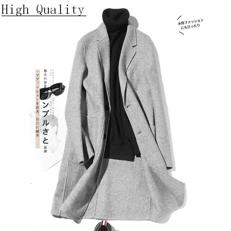 Double-sided Wool Coat Handmade Spring Woolen Coat Casual Suit Jacket Mens Overcoat Casaco Masculino LM18-1005 KJ1467