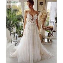 Sexy Ivory Lace Tulle Spaghetti Straps V-Neck Floor-Length A-Line Wedding Dresses Chapel Train Custom Made