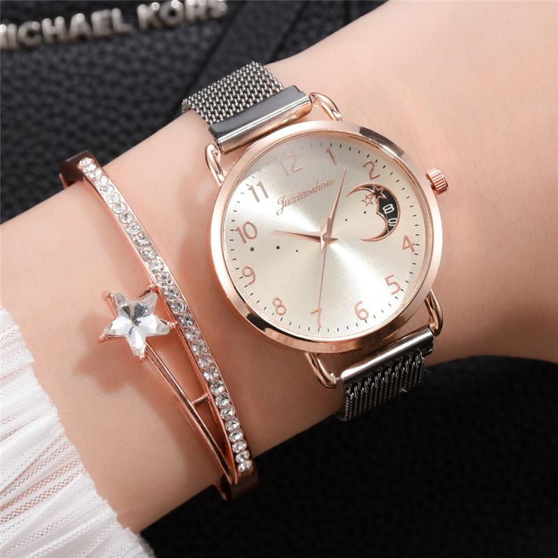 Rose Gold Mesh Strap Women's Fashion Watches Simple Numbers Dial Luxury Quartz Watch Women Clock Rose Gold Pointer Wristwatches 5