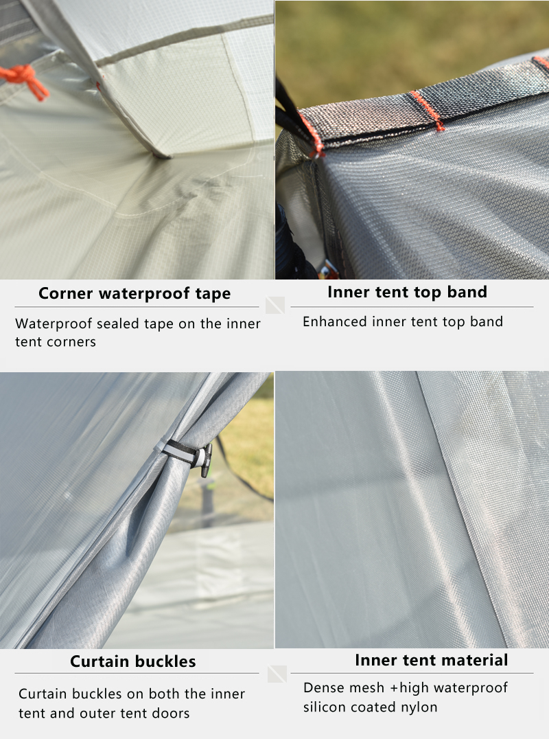 barraca de acampamento 2 pessoa profissional 15d silnáilon sem haste tenda