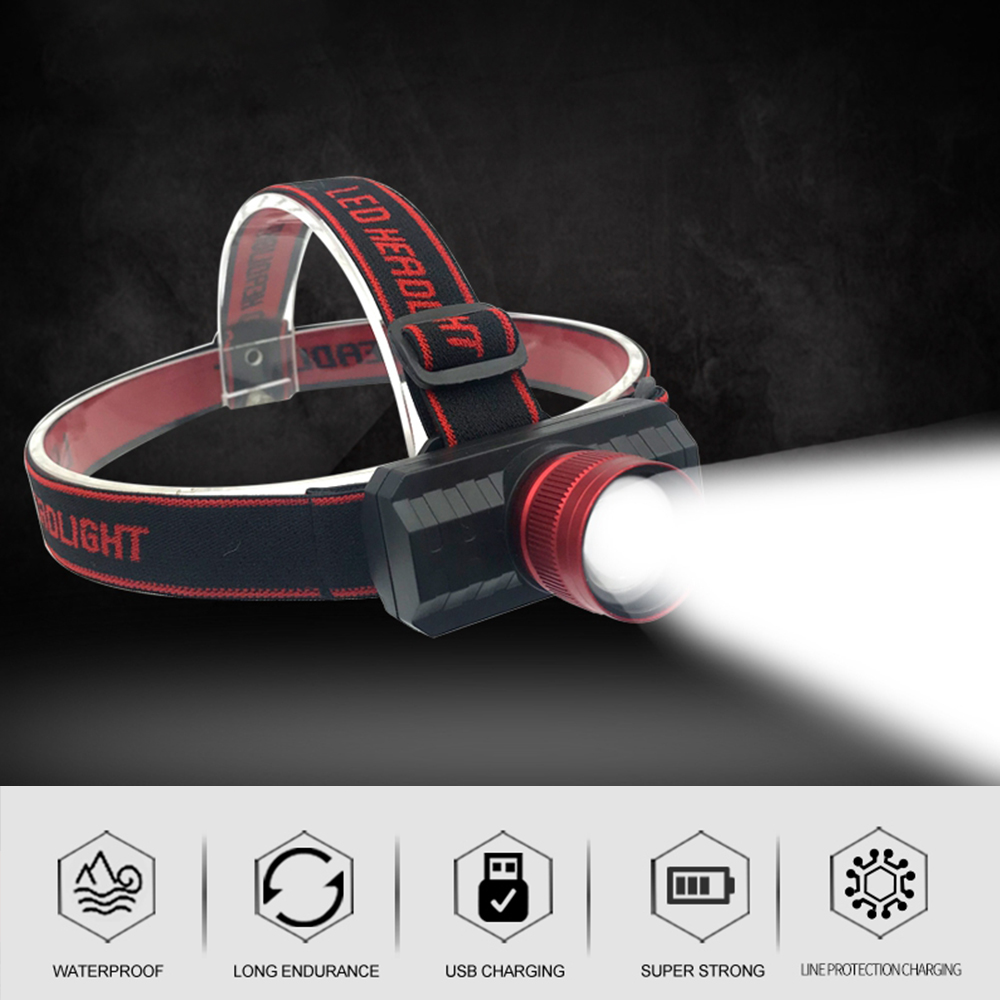 USB Rechargeable 18650 Headlamp Zoom 5w  Q5 LED Head Lamp Adjustable Band Headlight Fishing Camping Stroble Light
