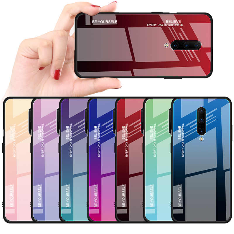 Stained Smooth Tempered Glass Case for Oneplus 7 Pro Protective Fundas Back Glass Cover Soft Bumper Case on for Oneplus 6T 6 T