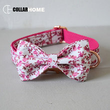 flowers puppy necklace fashion durable strong dog collar leash set with bow tie Chihuahua rose gold metal belt buckle 4 sizes
