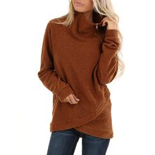 Womens Chunky Turtleneck Pullover Sweater Asymmetric Hem Cowl Neck Fleece Female Pullover Women's Clothing roupas Femininas(China)