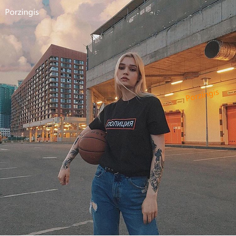 Porzingis Female T-shirt With Russian ПОЛИЦИЯ Inscription Printed Tee Shirt Summer Cotton Tee For Lady Fashion Tops