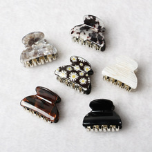 3pack Hair Clip Daisy Acrylic Plastic Small Hair Claw For Women Girls Fashion Gold Crab For Hair Tins Clamps Hair Accessories