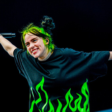 Billie Eilish Tour Hip Hop Retro Flame Print Oversize Short Sleeve T Shirt SF