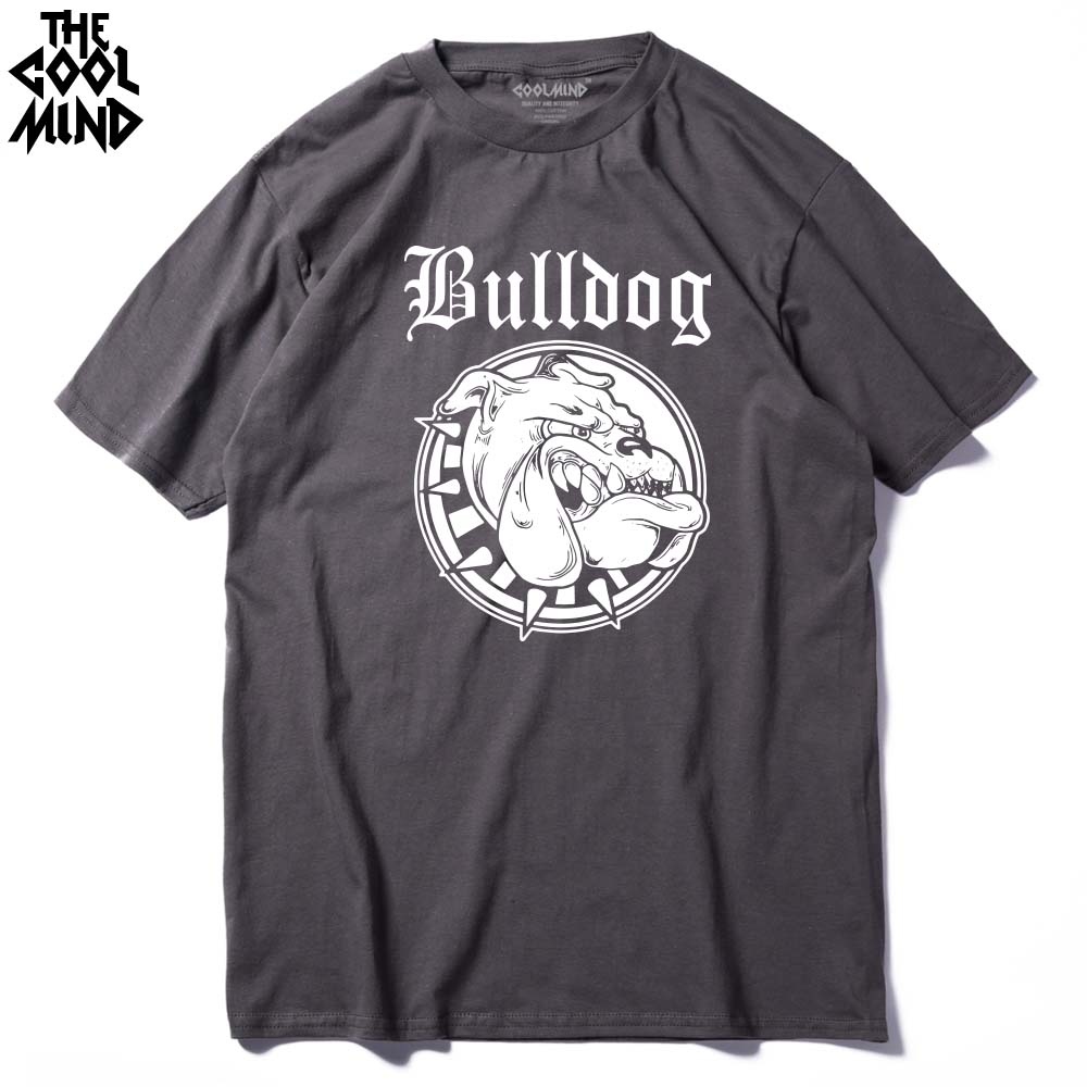 COOLMIND BU0111A 100% COTTON O Neck Bulldog Print Men T Shirt Casual Short Sleeve Comfortable Fabric Men's T Shirt Tees Shirt
